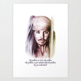 Art Portrait & Quote: Jack Sparrow Art Print