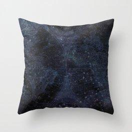 Antique World Star Map Navy Blue Throw Pillow