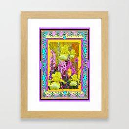 Western Art Deco Yellow Iris Garden Design Framed Art Print