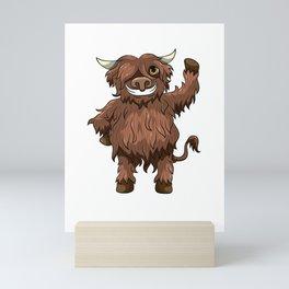 Happy Highland Cow Kawaii Cartoon Style Mini Art Print