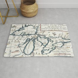 Vintage Map of The Great Lakes (1696) Rug