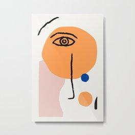 Feminist Line Drawing – Face Illustration | Blue and Nude | Modern Wall Art | Leaf Print | Feminist Metal Print