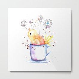 Cute Little Chick Illustration Metal Print
