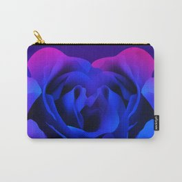 Blue Neon Rose Carry-All Pouch