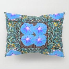 Blue Morning Glories Floral Art Nouveau Pillow Sham