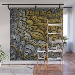 FRACTALS FLOWING gold and silver Wall Mural