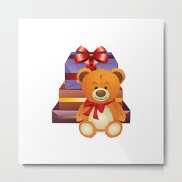 Teddy bear with gift boxes Metal Print