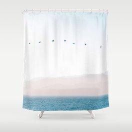 Modern Minimalist Pastel Blue Landscape Ocean Mountains Flock Of Birds Flying Shower Curtain