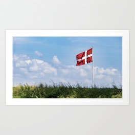 Dannebrog in the wind (Danish national flag) Art Print
