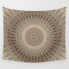 Beige mandala Wall Tapestry