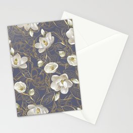 Southern Magnolias | Blue Gray Plum Stationery Cards
