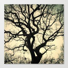 Tree Silhouette - Yellow Canvas Print