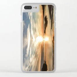 Plum Cove Beach Sunset Painting Clear iPhone Case