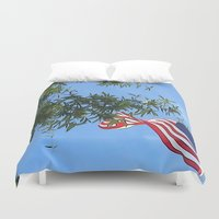 american flag Duvet Covers featuring American Flag  by KCavender Designs