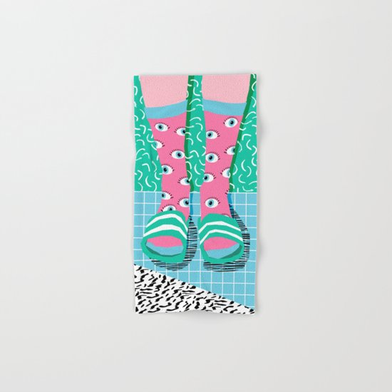 Chillax - memphis throwback style retro classic 1980s 80s grid pattern socks fashion apparel Hand & Bath Towel