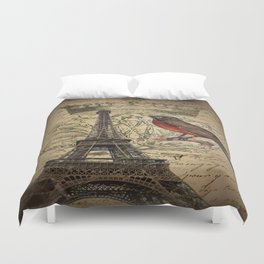 I love Paris Shabby chic Robin French Scripts Jubilee Crown Vintage Paris Eiffel Tower Duvet Cover