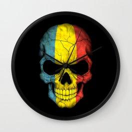 Dark Skull with Flag of Romania Wall Clock