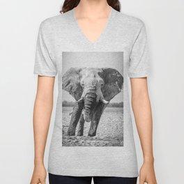B&W Elephant 5 Unisex V-Neck
