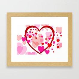 big heart and flying hearts Framed Art Print