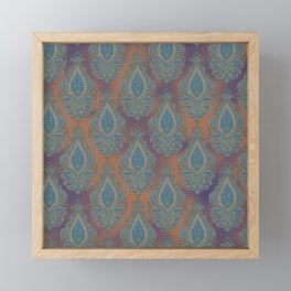 paisley in cinnamon Framed Mini Art Print