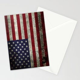 American Flag, Old Glory in dark worn grunge Stationery Cards