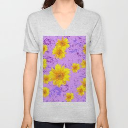 LILAC PURPLE ABSTRACT YELLOW FLOWERS ART Unisex V-Neck