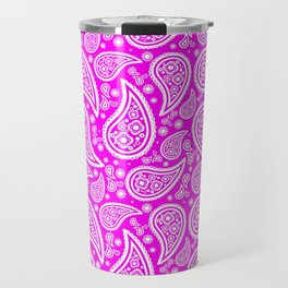 Paisley (White & Magenta Pattern) Travel Mug