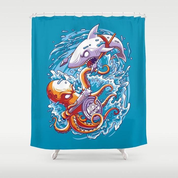 Ocean BattleShark Vs Octopus Shower Curtain By Ponsao22