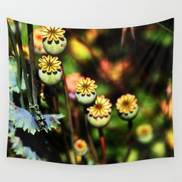 Poppy Flowers Pods Wall Tapestry
