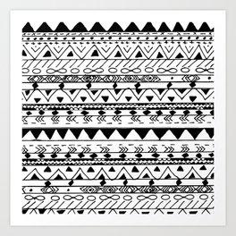 Hand painted black white watercolor aztec pattern Art Print
