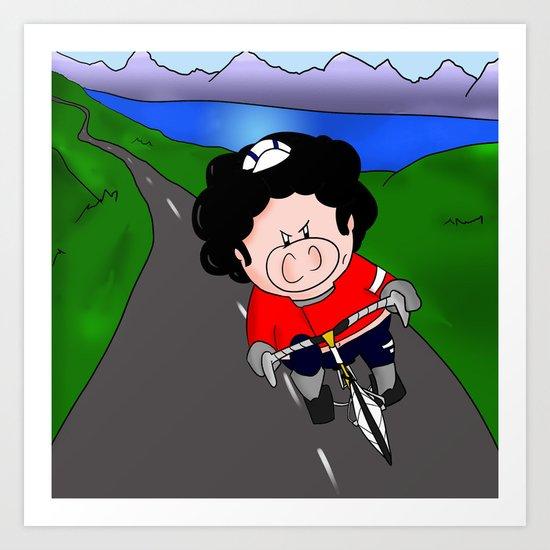Cycling pig Art Print