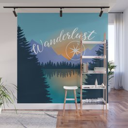 Wanderlust, Summer Adventure in the Mountains Wall Mural