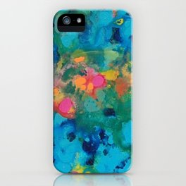 """""""unknown years"""" abstract art in teal, pink, yellow,green and turquoise iPhone Case"""