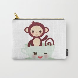 Cute Kawai pink cup with brown monkey Carry-All Pouch