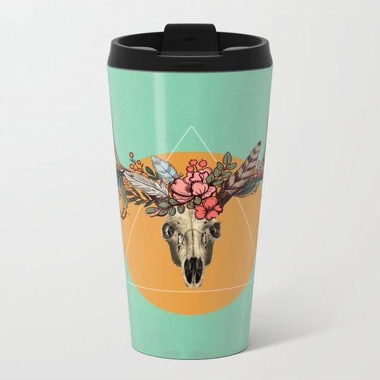 Flower skull 3 Metal Travel Mug
