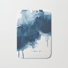 Where does the dance begin? A minimal abstract acrylic painting in blue and white by Alyssa Hamilton Bath Mat
