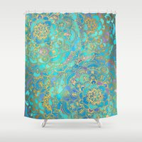 metallic Shower Curtains featuring Sapphire & Jade Stained Glass Mandalas by micklyn