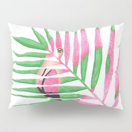 Pink Flamingo Palm Leaf Pillow Sham