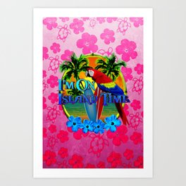 Pink Hibiscus Island Time Sunset Art Print
