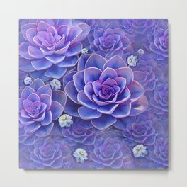 """Bouquet of pastel violet exotic succulents"" Metal Print"