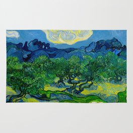 Olive Trees by Vincent Van Gogh Oil Painting Rug