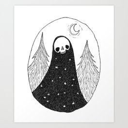 Starry Forest Ghoul Art Print