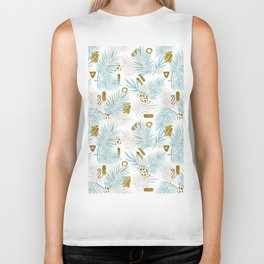 tropical leaves Biker Tank
