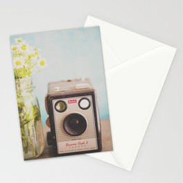 A vintage Kodak camera & a jar full of daisies. Stationery Cards