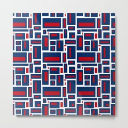 Modern Geometric in Red, White and Blue Metal Print