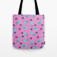 dolphins Tote Bags featuring dolphins by lindseyclare