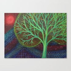 Green Tree and Red Moon Canvas Print