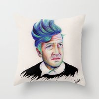 lynch Throw Pillows featuring David Lynch by Coco Dávez