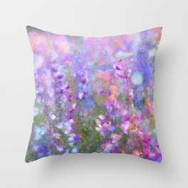 Field of Tall Purple Flowers Impressionist Painting Throw Pillow