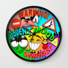 Warning Frequent Mood Swings Cartoon Faces Wall Clock